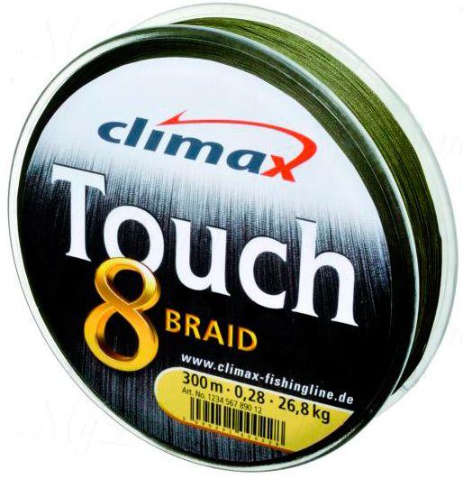 Плетёный шнур Сlimax Touch 8 Braid (тёмно-зеленый)135м 0,25мм 24кг (круглый)