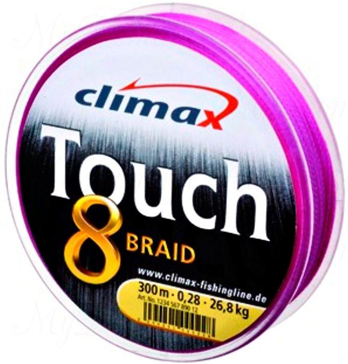 Плетёный шнур Сlimax Touch 8 Braid (розовый) 135м 0,25мм 9,2кг (круглый)