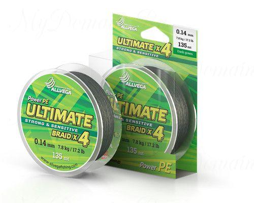 "Шнур плетёный ALLVEGA ""Ultimate"" 135м тёмно-зелёный 0,16мм (9,5кг)"